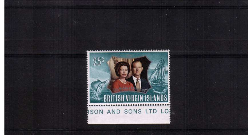 25c Royal Silver Wedding superb unmounted mint lower marginal stamp with INVERTED WATERMARK