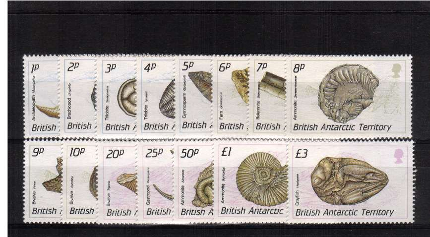 Fossils - A superb  unmounted mint set of fifteen.