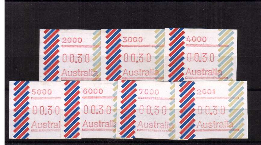 30c ''Barred Edge'' FRAMA set of superb unmounted mint<br/>Issue Date: 22 FEB 1984