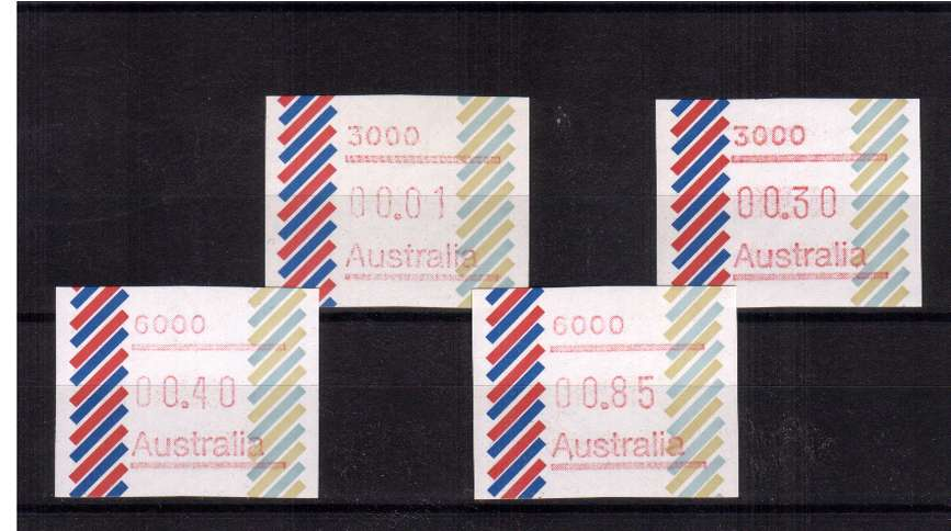 1c-85c ''Barred Edge'' FRAMA set of four superb unmounted mint<br/>Issue Date: 22 FEB 1984