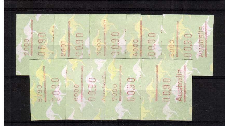 Roo 90c FRAMA set of nine superb unmounted mint<br/>Issue Date: 22 OCT 1985