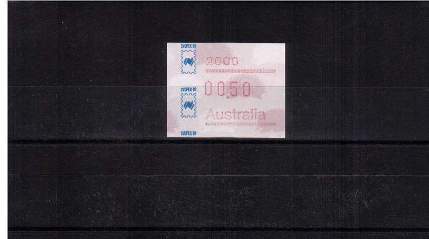 50c FRAMA single for SYDPEX commemorative overprint superb unmounted mint<br/>Issue Date: 1 AUGUST 1988