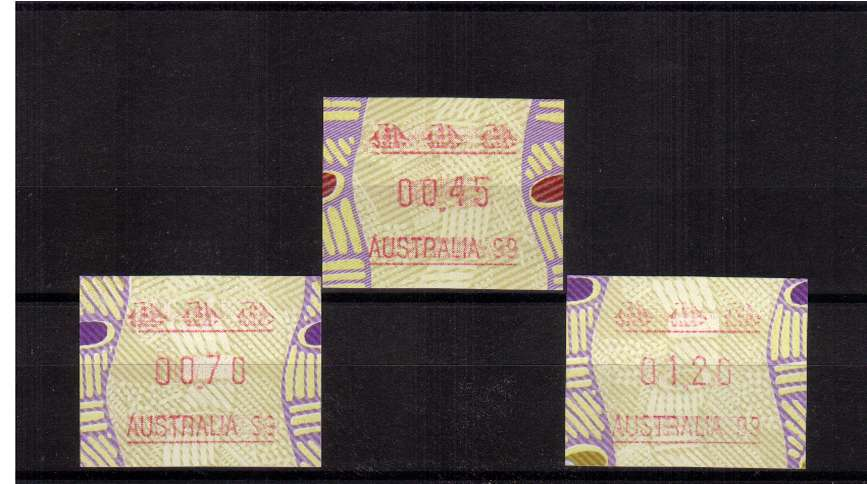 Tiwi FRAMA  set of three with AUSTRALIA 99 imprint  superb unmounted mint<br/>Issue Date: 19 MARCH 1999