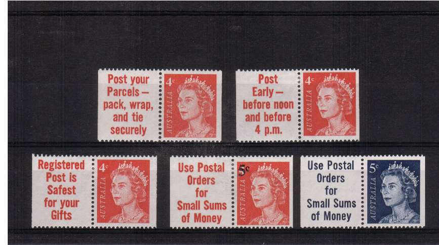 Group of five booklet singles with labels lightly mounted mint