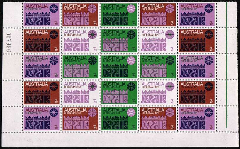 The Christmas block of twenty-five superb unmounted mint with full sheet margin on three sides