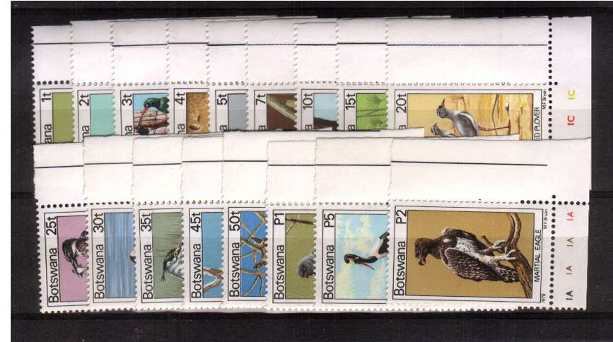 Birds definitive set of seventeen in superb unmounted mint corner singles.