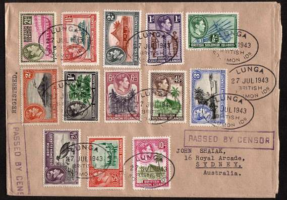 The complete George 6th definitive set on REGISTERED cover to SYDNEY - AUSTRALIA cancelled with nine strikes of an oval LUNGA cancel dated 27 JUL 1943 thus not First Day.
