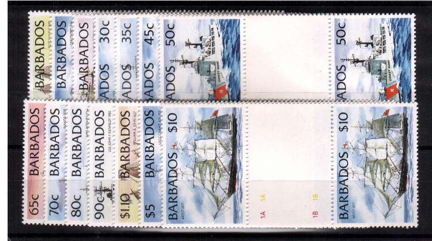 Ships set of fourteen - without imprint - superb unmounted mint gutter pairs. 
