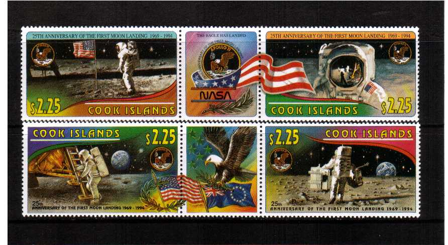 Space - Moon Landing set of four in two strips with a central label between superb unmounted mint