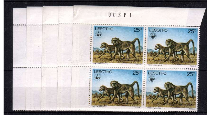 wwf - Endangered Species set of five in superb unmounted mint corner blocks of four. 