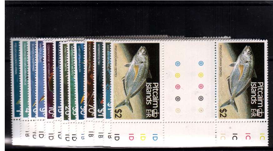 Fish - Set of eleven in superb unmounted mint gutter pairs.