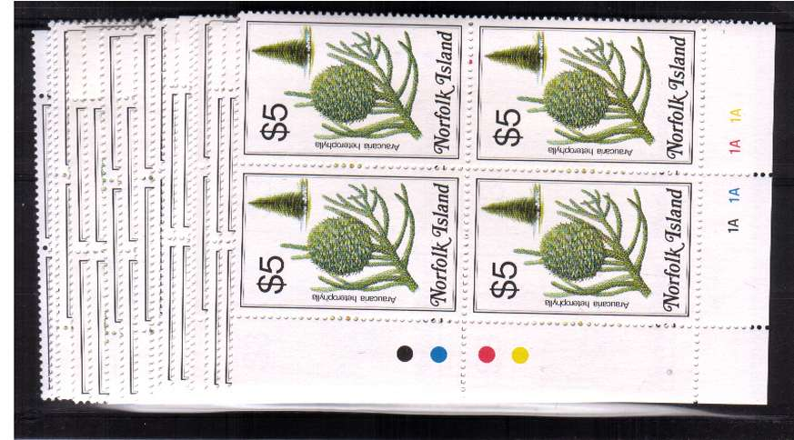 Flowers set of sixteen in superb unmounted mint cylinder corner blocks of four
