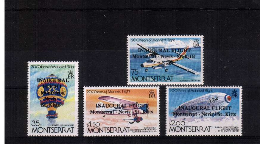 Bicentenary of Manned Flight set of four with INAUGURAL FLIGHT overprint. This set was not released but according to GIBBONS 100 sets were used on flown covers. This is the rare set of four superb unmounted mint.