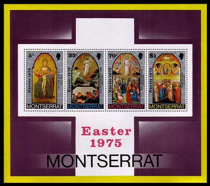Easter minisheet superb unmounted mint with OVERPRINT OMITTED. The overprint blocked out the inscription reading EASTER 1976.<br/>A rare sheet.