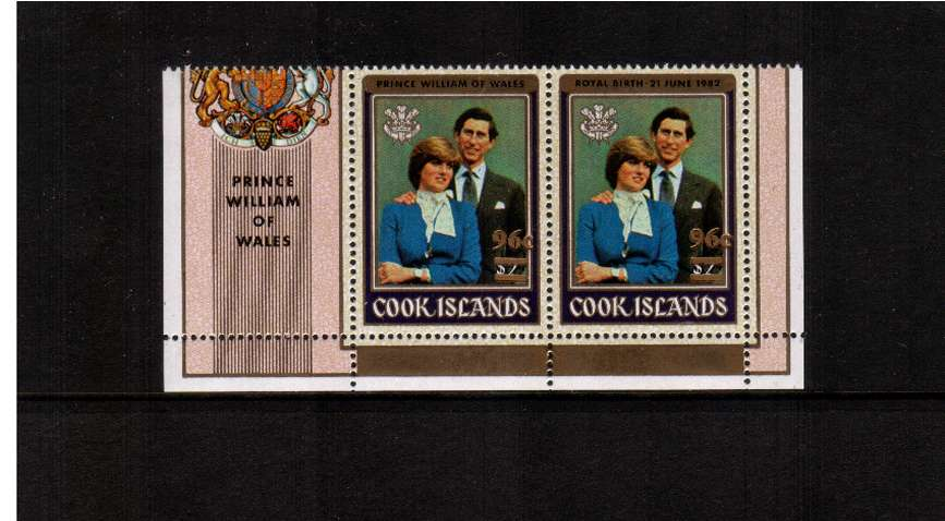 The 96c overprinted in error on the Diana - Birth of Prince William se-tenant pair superb unmounted mint.