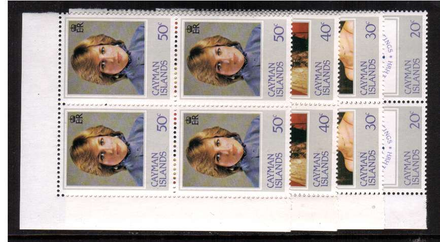 21st Birthday of Princess of Wales, Diana in corner blocks of four with inverted watermark on the 30c all superb unmounted mint