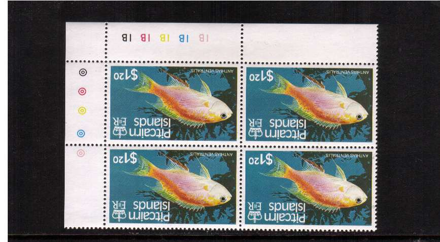 The $1.20 Fishes single in a superb unmounted mint corner cylinder block of four with WATERMARK INVERTED.