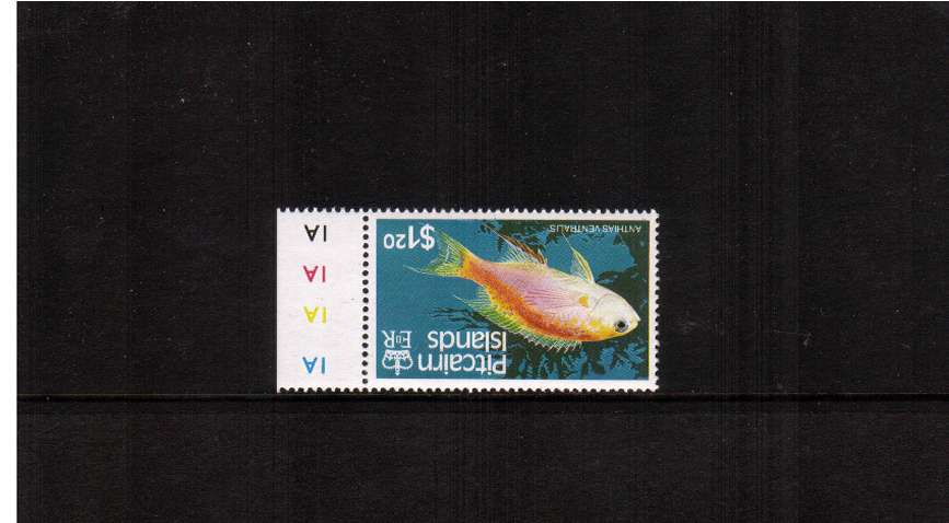 The $1.20 Fishes marginal single with WATERMARK INVERTED superb unmounted mint.