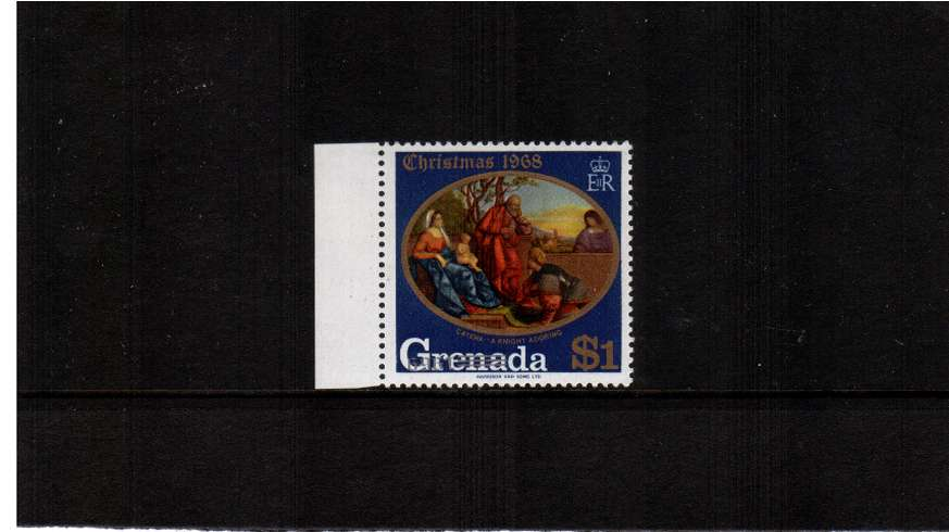 The Christmas issue $1 stamp with overprint INVERTED. A supeb unmounted mint left side marginal stamp.