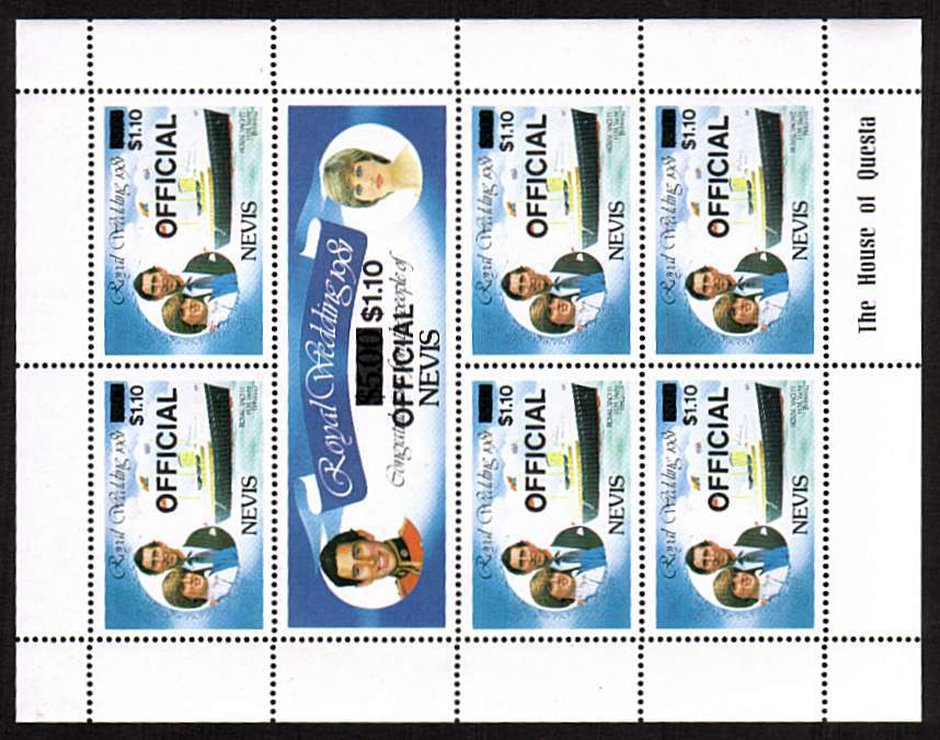 Charles and Diana Royal Wedding sheetlet of seven overprinted ''OFFICIAL'' and with INVERTED WATERMARK superb unmounted mint.