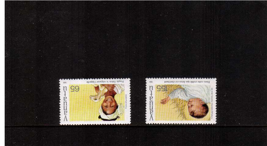 Christmas set of two with INVERTED WATERMARKS superb unmounted mint.