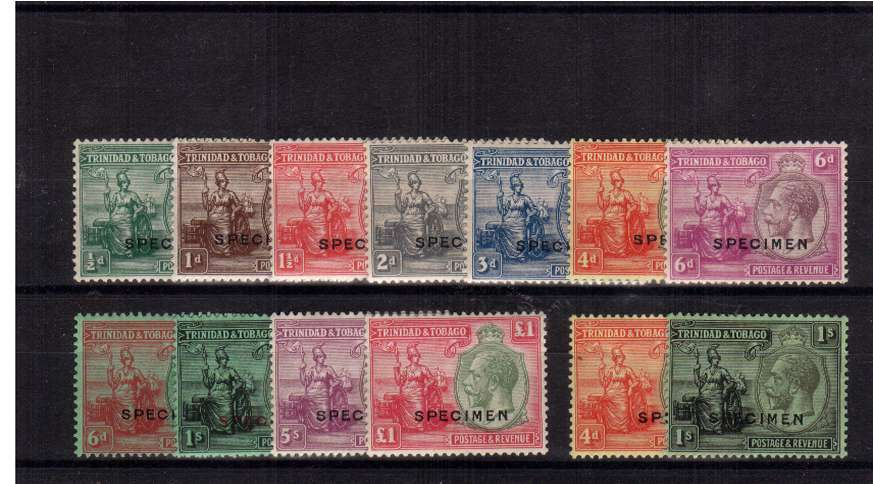 A fine lightly mounted mint set of thirteen that includes both watermarks overprinted ''SPECIMEN''. SG Cat �5