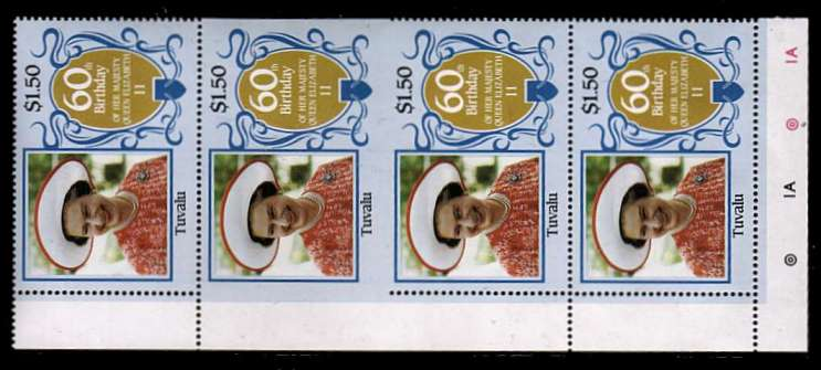 60th Birthday of Queen Elizabeth II $1.50 value in a superb unmounted mint vertical strip showing perforation comb jump resulting in an IMPERFORATE PAIR