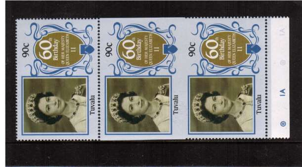 60th Birthday of Queen Elizabeth II 90c value in a superb unmounted mint vertical strip showing perforation comb jump resulting in an IMPERFORATE PAIR