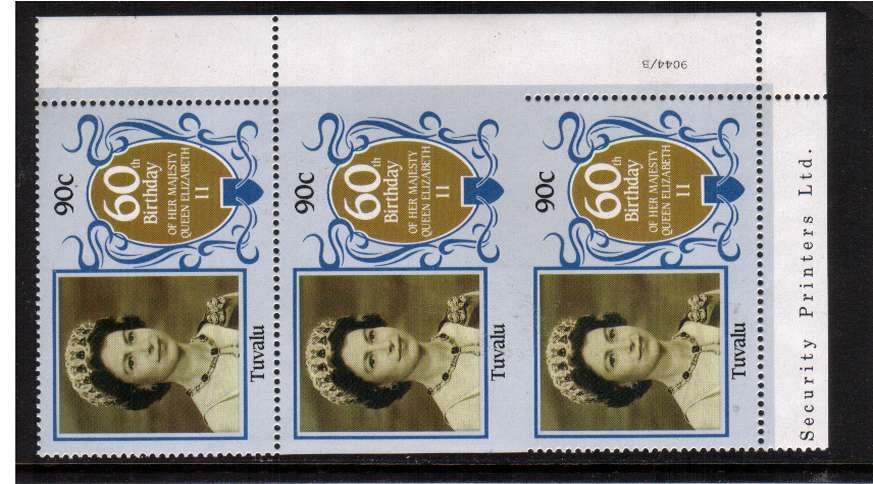 60th Birthday of Queen Elizabeth II 90c in a superb unmounted mint vertical strip showing perforation comb jump resulting in an IMPERFORATE PAIR