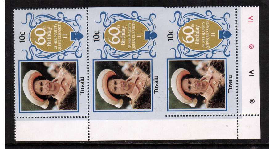 60th Birthday of Queen Elizabeth II 10c value in a superb unmounted mint vertical strip showing perforation comb jump resulting in an IMPERFORATE PAIR
