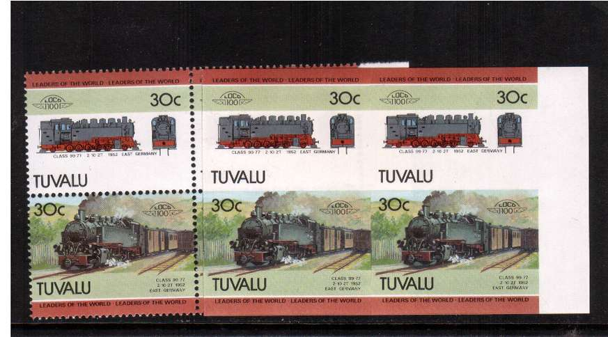 LEADERS - Trains - 4th Series. The 30c value in a superb unmounted mint right side marginal IMPERFORATE block of four with normal for comparison.