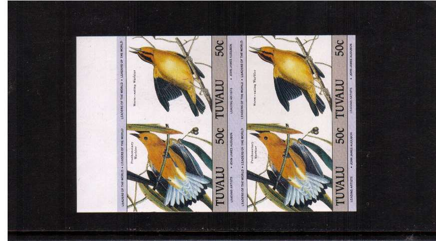 LEADERS - Birth Bicentenary of John J. Audubon 50c value in an IMPERFORATE top marginal block of four superb unmounted mint.