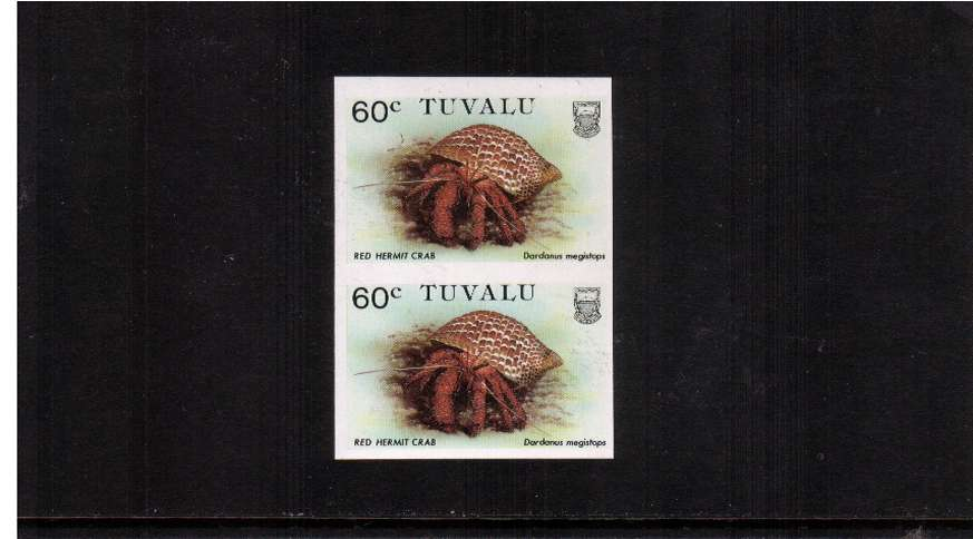 Crabs Issue 60c value in a superb unmounted mint IMPERFORATE vertical pair.