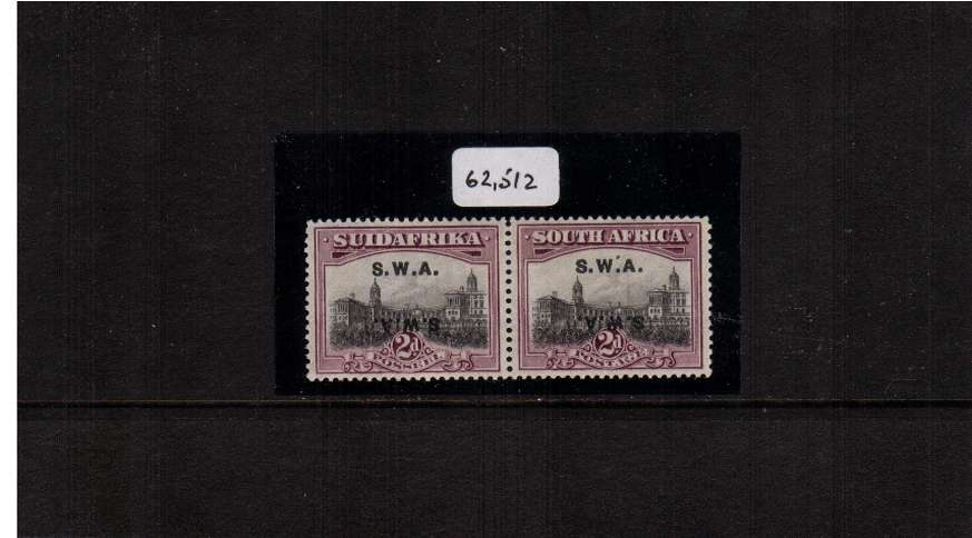 2d Grey and Maroon showing S.W.A. overprint double, one inverted lightly mounted mint pair with the benefit of a BPA certificate stating genuine. SG Cat �0