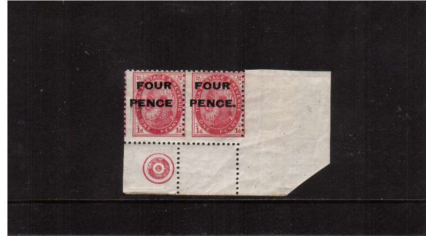 4d on 1d Carmine. A SE corner pair showing an excellent comb jump to left and also showing the error ''no stop after PENCE'' in pair with normal. A possibly unique item!