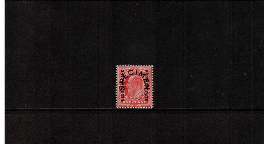 A good lightly mounted mint 1d Edward VII Scarlet overprint with<br/>the horseshoe ''SPECIMEN'' type 17