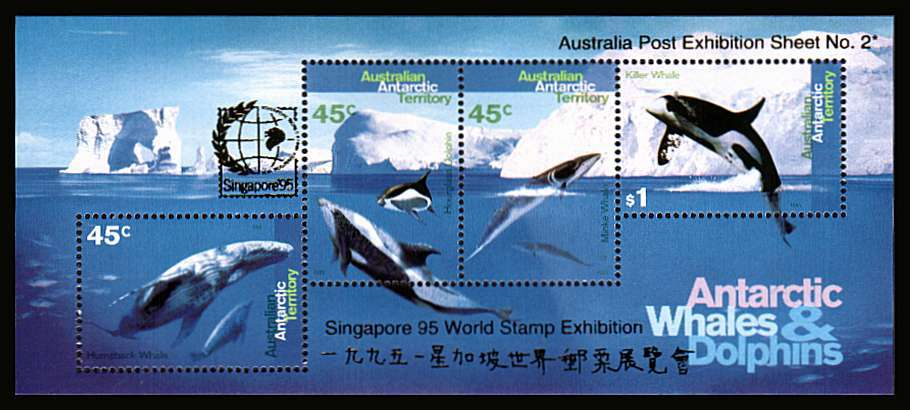 Antarctic Whales and Dolphins minisheet superb unmounted mint with GOLD overprint for SINGAPORE 95 stamp exhibition. Australia Post Exhibition Sheet No 2.  Scarce.<br/><b>ZQF</b>