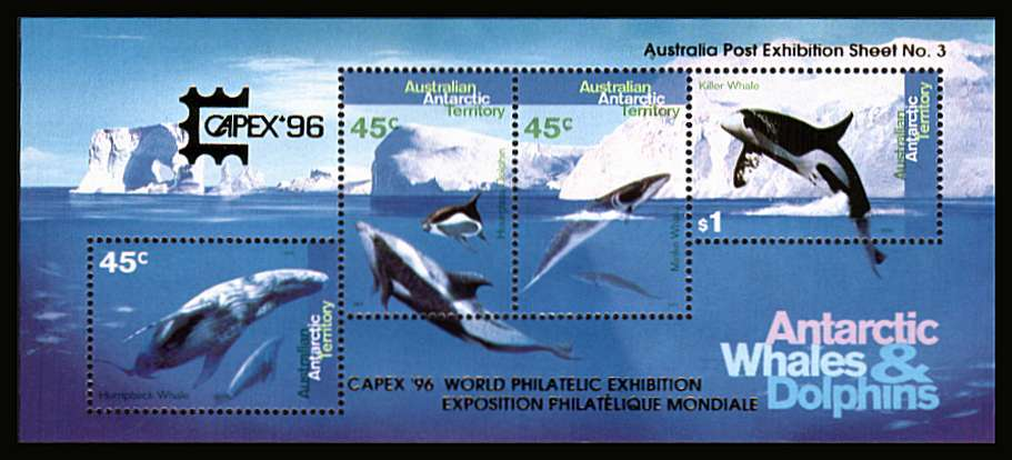Antarctic Whales and Dolphins minisheet superb unmounted mint with GOLD overprint for CAPEX '96 stamp exhibition. Australia Post Exhibition Sheet No 3. Scarce!<br/><b>ZQF</b>
