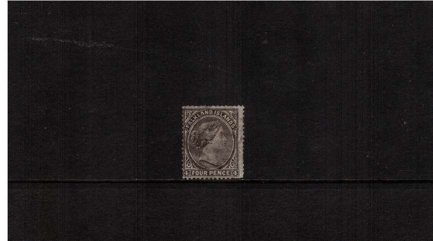 4d Grey-Black on WATERMARKED paper.<br/>A reasonable good used example of the very scarce stamp very clearly showing without<br/>any aid that the stamp is in fact watermarked!! SG Cat �0