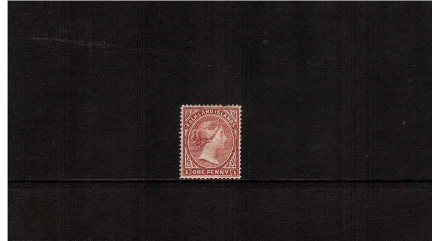 1d Dull Claret - Watermark Crown CA Upright<br/>A mounted mint stamp with excellent centering and colour showing a bent<br/>perforating pin at top (it is not a damaged stamp!) SC Cat £325 