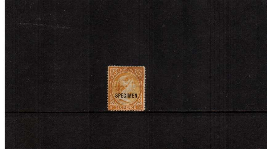 6d Orange-Yellow. A good unused stamp with no gum overprinted ''SPECIMEN'' 