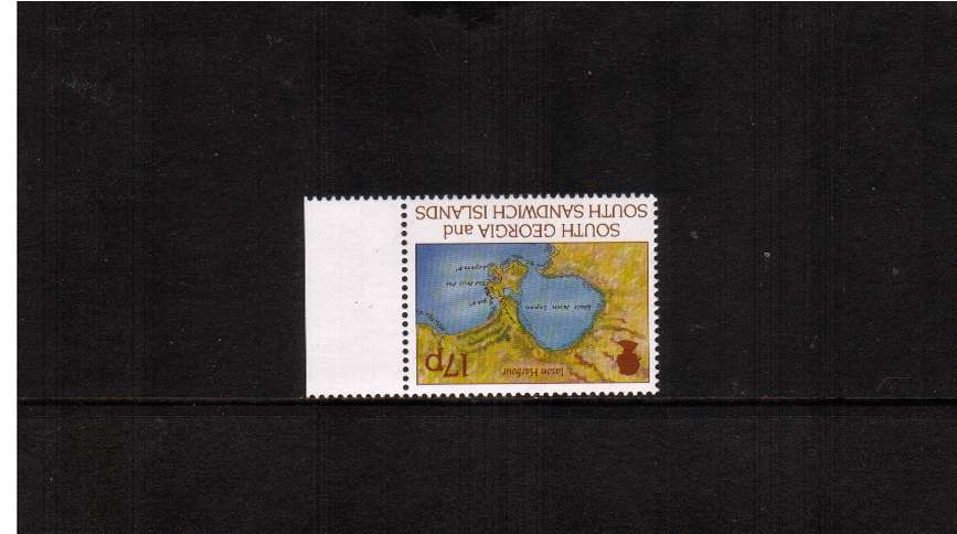 Larsen's first voyage 17p single superb unmounted mint marginal<br/>  with INVERTED WATERMARK.