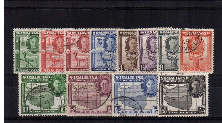 King George 6th ''Full Face'' set of twelve superb fine used.