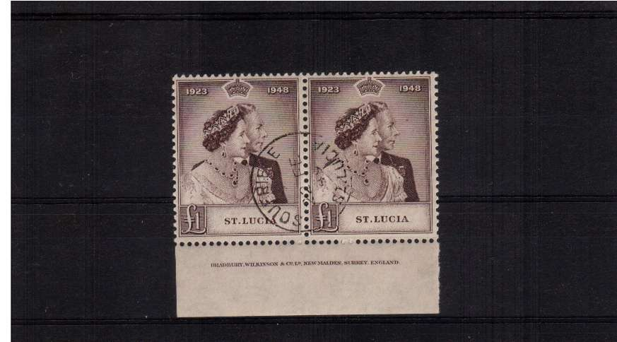 Silver Wedding £1 Purple-Brown superb fine used pair lower marginal showing Printers Imprint. Superb!