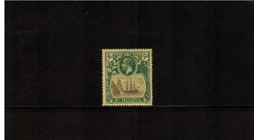 5/- Grey and Green on Yellow. A fine lightly mounted mint stamp.