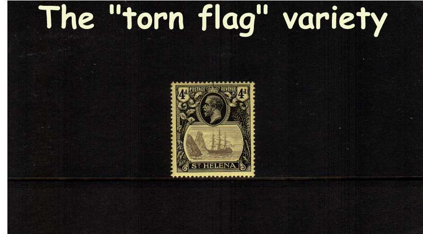 4d Grey and Black on Yellow. A very fine lightly mounted mint single showing the illustrated variety ''torn flag''