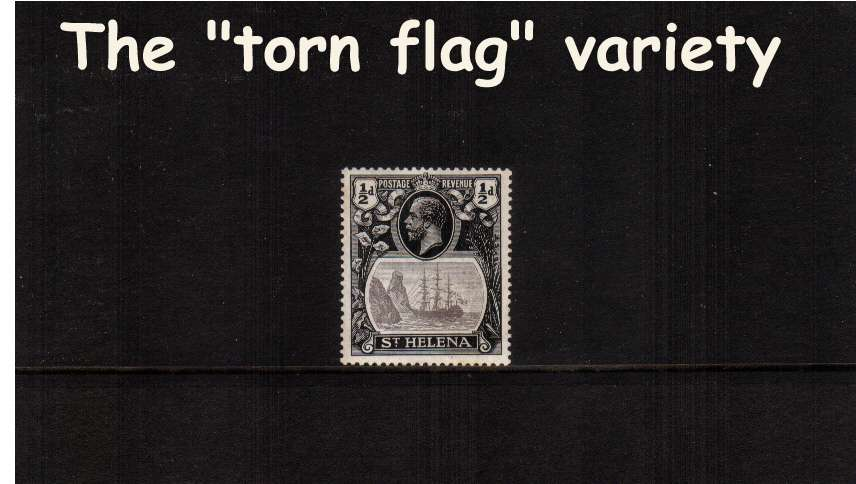 A superb unmounted mint stamp<br/>showing the illustrated variety ''torn flag'' 