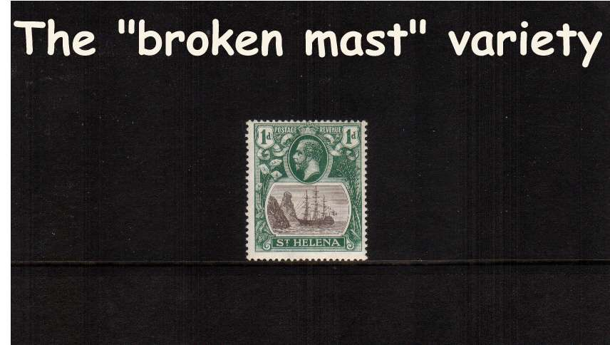 1d Grey and Green. A supern unmounted mint stamp<br/>showing the illustrated variety ''broken mast'' 