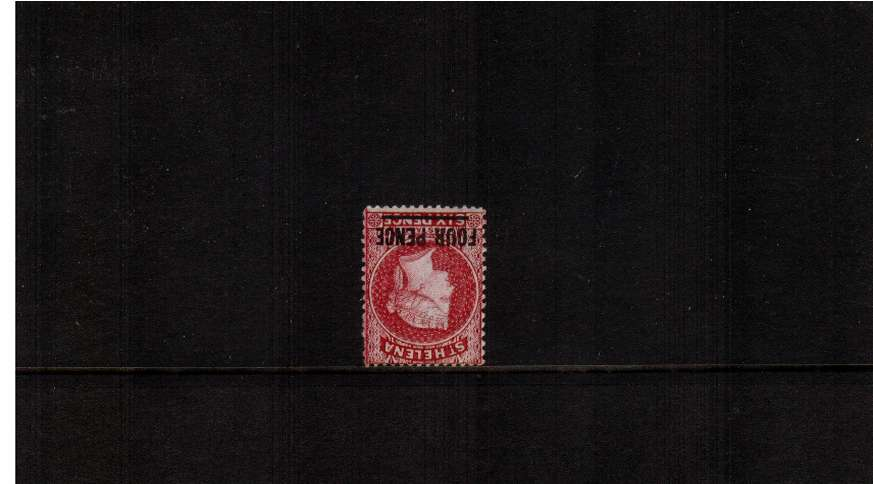 4d Carmine - Type B. A very bright and fresh stamp with full original gum showing WATERMARK INVERTED AND REVERSED. 