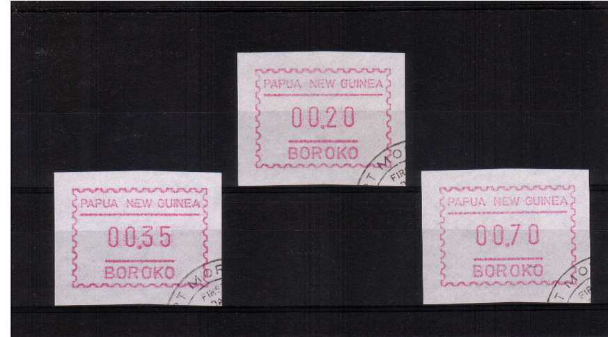 The first set of FRAMA labels superb fine used issued 7 MARCH 1990